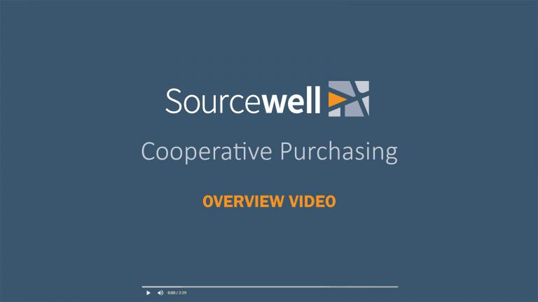 "Video title screen that reads ""Sourcewell Cooperative Purchasing Overview Video"""