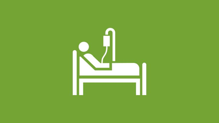 icon of a person in a hospital bed representing critical illness insurance, a voluntary worksite benefit