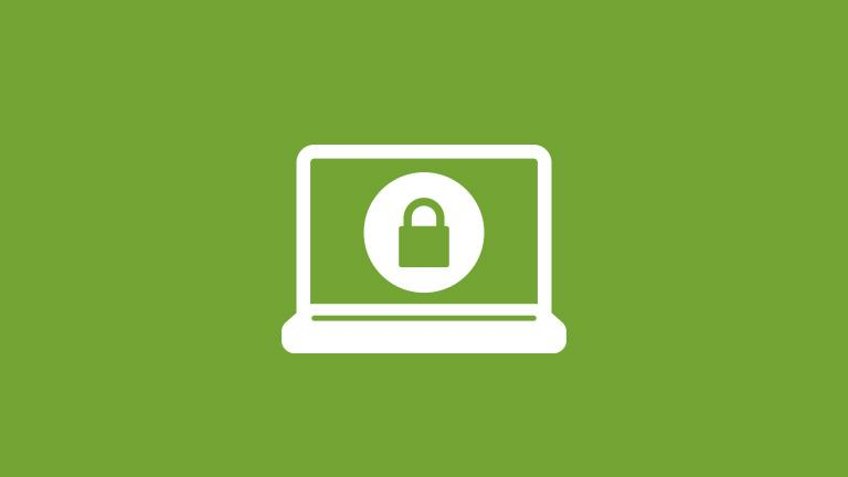 icon of a computer with a lock icon representing cyber liability protection