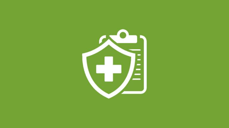 A shield icon over a medical clipboard representing medical insurance