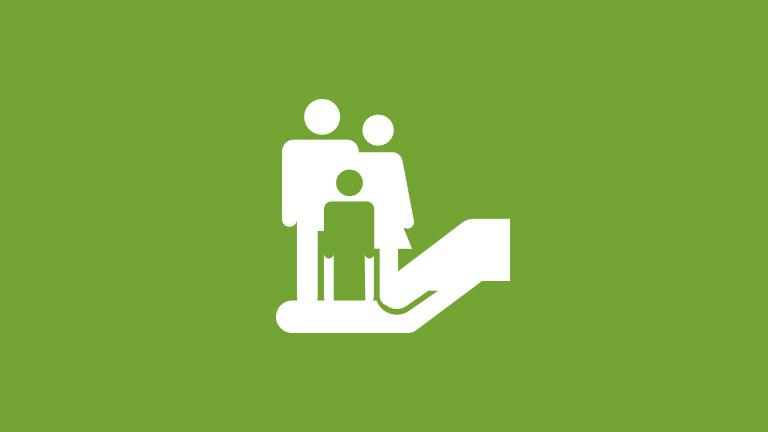 icon of family standing in an open hand to represent life insurance