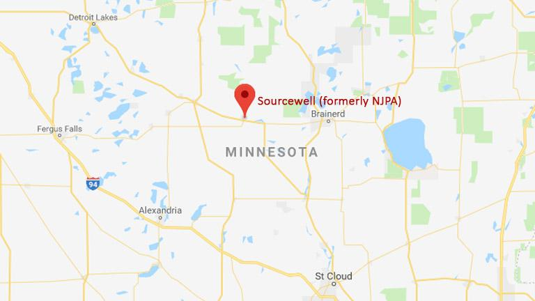 Map of Minnesota with a pin for Sourcewell (formerly NJPA) in Staples, MN