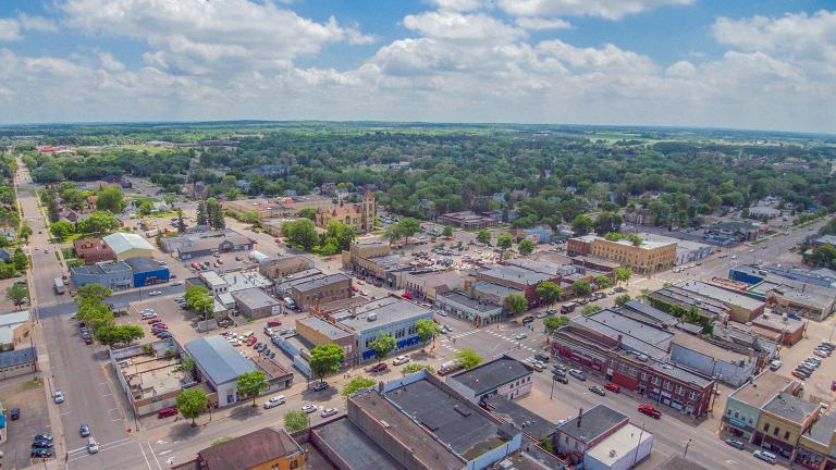 Aerial view of downtown Little Falls, Minnesota