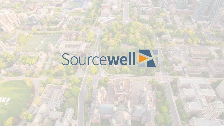 Sorucewell logo overlaying a aerial view of a city