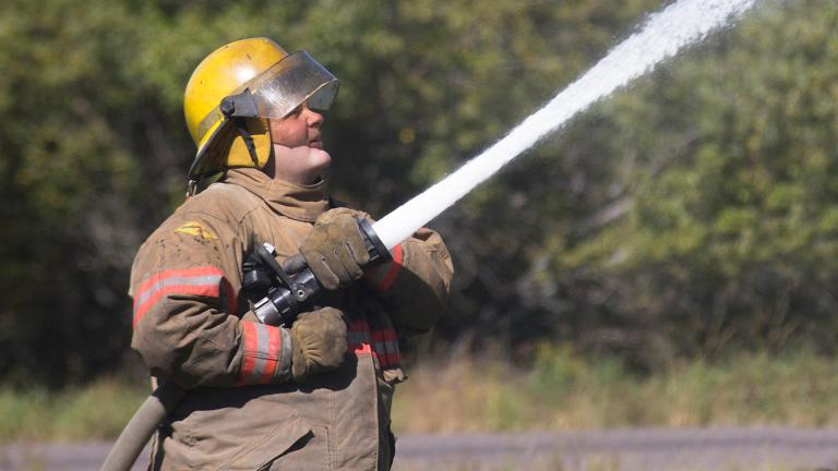 A firefighter from one of many Sourcewell member organizations
